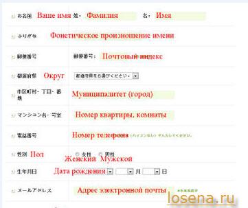 Как заполнять формы на сайтах Японии/Япония